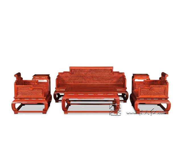 Living Room Furniture Sofa Sets Rosewood Throne Solid Wood Divan Chinese  Classical Carving Tea Tables Annatto