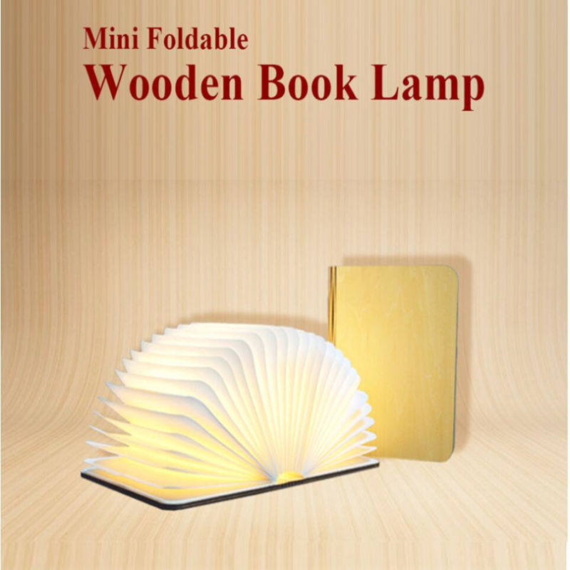 Innovative USB Rechargeable LED Foldable Wooden Book Shape Desk Lamp Nightlight Booklight for Home Decoration Warm White Light led foldable panda book table lamp colorful light portable booklight usb rechargeable night light for holiday gifts