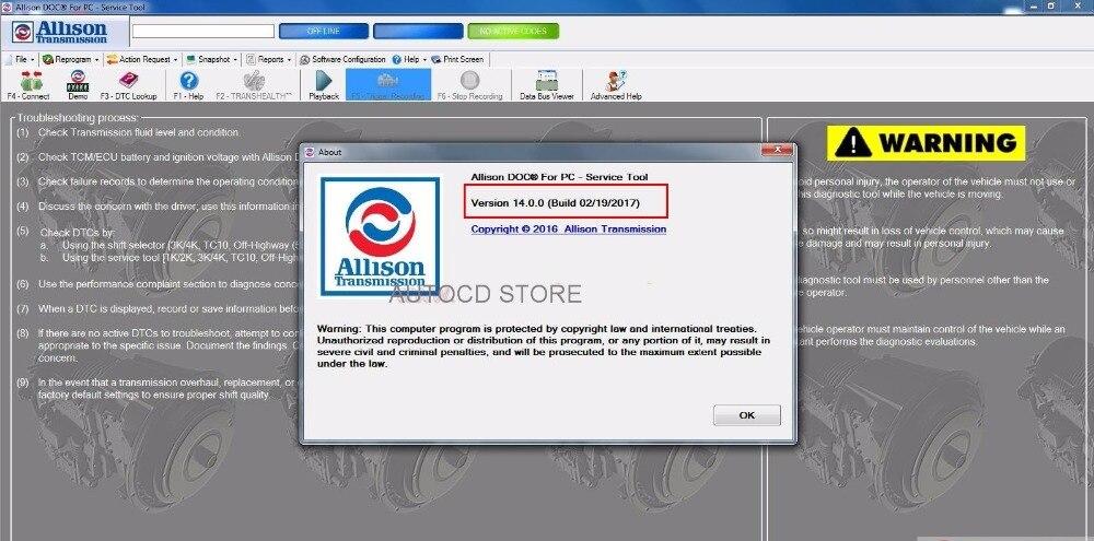 Prix pour Livraison gratuite 2017 Nouveau 100% Universal Allison DOC 14 PC v14 logiciel + licence installateur pour INSTALLER ILLIMITÉ ORDINATEUR