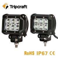 TRIPCRAFT 2PCS LOT 18w LED LIGHT BAR Spot Flood Beam Worklight For Offroad Boat Car Ramp