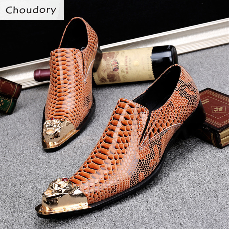 Choudory Pointed Toe Leather Height Increasing Slip-On Spring Autumn Solid Men Shoes Casual Snakeskin Steel Toe Work Shoes Men
