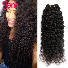 "Peruvian Curly Hair Bundles 1/3/4 Pieces Human Hair Extensions 10""-28"" GEM Beauty NonRemy Human Hair Weave Bundles Natural Color(China)"