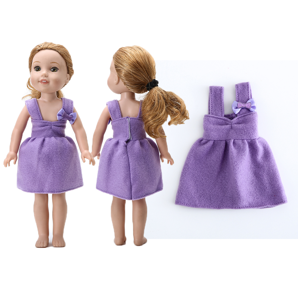Purple Lavender Ribbon Bow Slip on Shoes fits Wellie Wishers Doll