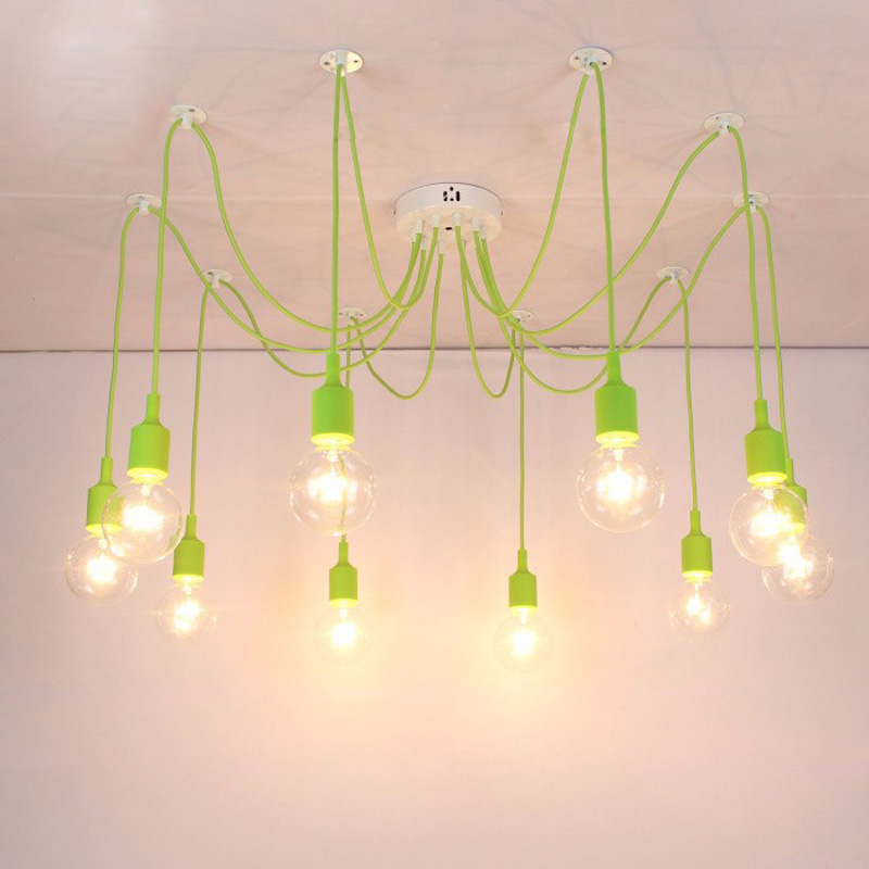 Modern Pendant Lights 13 Colors DIY Lighting Multi Color Silicone E27 Bulb Holder Lamps Home Decoration 4 12 Arms Fabric Cable In From