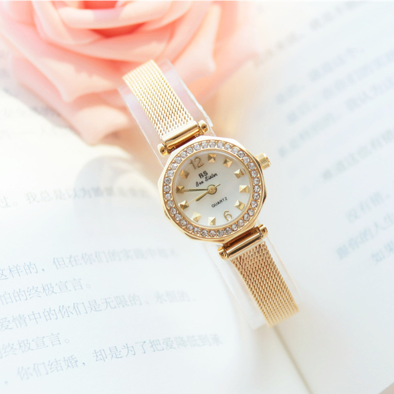 2019 Fashion Ladies Quartz Watch Imported Movement Milanese Strap Three color Full Rhinestone Dial Small List Watch in Women 39 s Watches from Watches