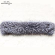Linhaoshengyue, длина 55 см, модная, высокое качество, воротник из натурального меха серебристой лисы
