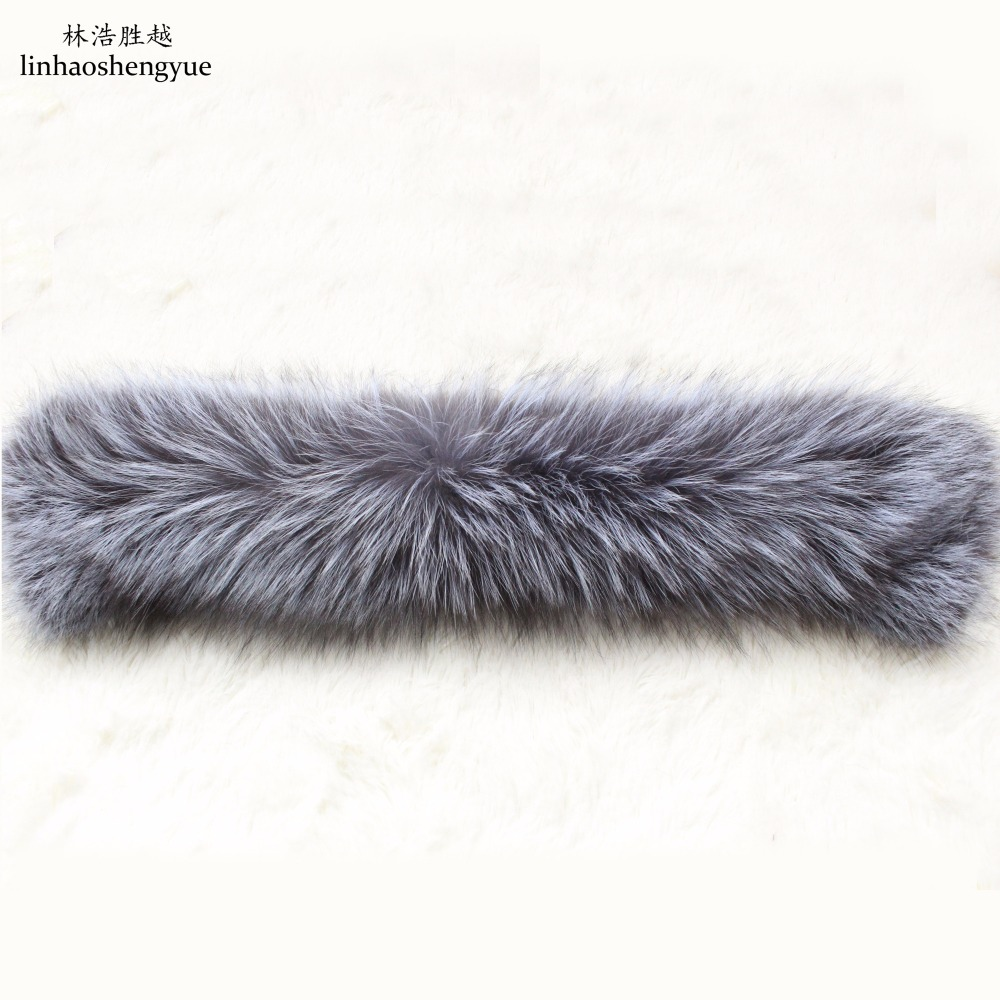 Linhaoshengyue Long 55cm Fashion  High Quality Silver Fox Collar  Real Fur Jacket Collar  Freeshipping