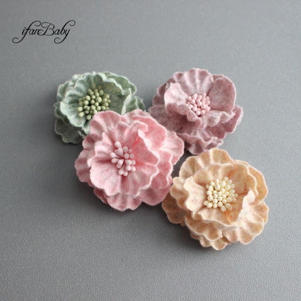 Girls Kids Hair Flowers Blossom Soft Leather Flower 30pcs