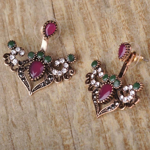 Vintage Resin Earrings For Women Gold Plated Love Heart Double Sided Stud Earring Turkish Jewelry Engagement Party Joyas Aretes
