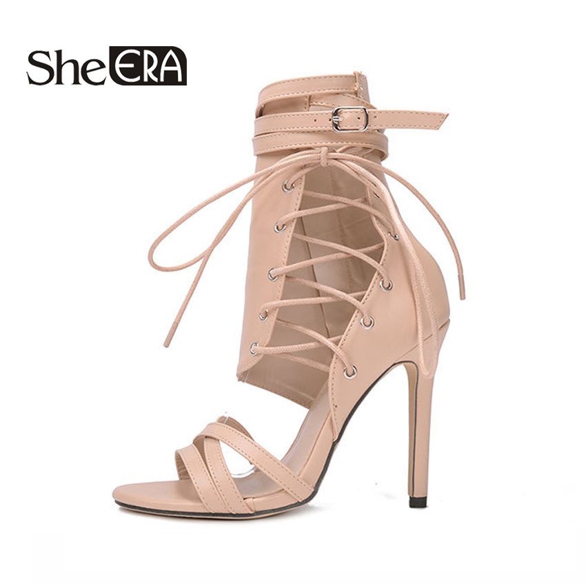 She ERA 2018 Sexy High Heels Sandals Gladiator Women Sandals 12cm Heels Summer Party Shoes Lace-Up Wedding Shoes