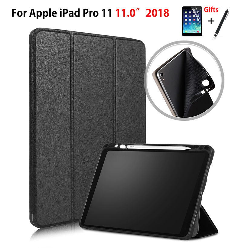 Case For iPad Pro 11 (2018) Smart Cover With Pencil Holder Funda For iPad Pro 11 inch 2018 Silicone Soft Back Shell +Film+PenCase For iPad Pro 11 (2018) Smart Cover With Pencil Holder Funda For iPad Pro 11 inch 2018 Silicone Soft Back Shell +Film+Pen