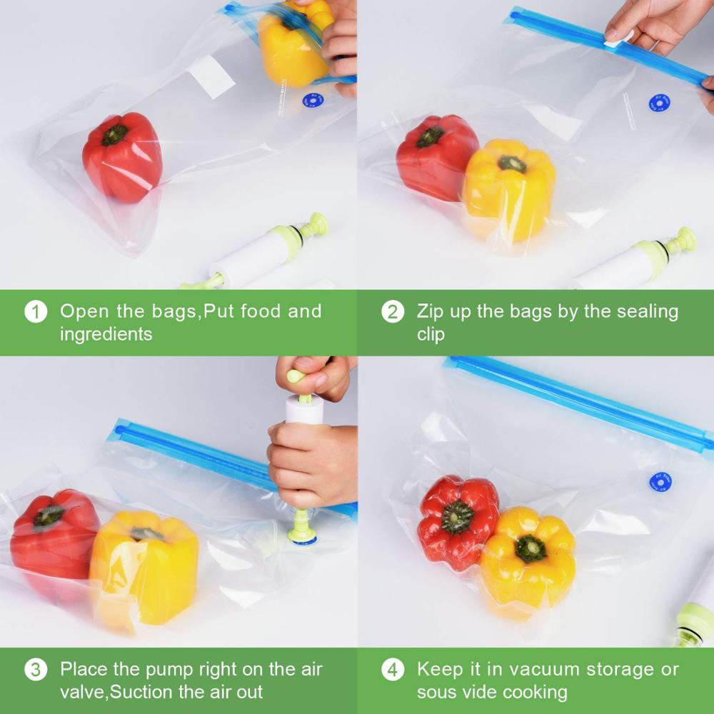 Image 5 - 20Pcs/set Bag Kits Reusable Food Storage Vacuum Seal Bags With Hand Pump Bag Sealing Clips Food Wrap For Food Storage Freezing-in Saran Wrap & Plastic Bags from Home & Garden