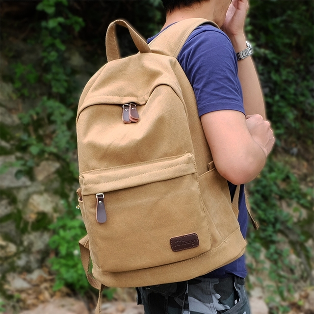 2019 Factory direct foreign trade trend of casual canvas bag men bag computer backpack student leisure shoulder bags Khaki B-007