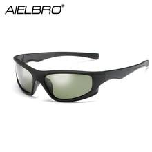 цены на AIELBRO New Polarized Sport Sunglasse Men UV400 Anti-glare Sun Glasses Black PC Frame Outdoor Goggles De Sol Gafas  в интернет-магазинах