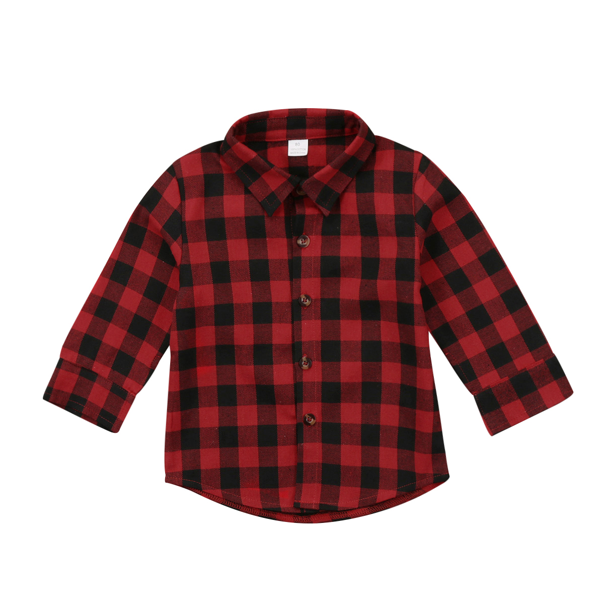 Kids Little Boys Girls Long Sleeve Button Down Red Plaid Flannel Shirt Dress with Belt