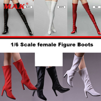 1/6 مقياس الإناث الجلود أحذية طويلة أحذية عالية الكعب نموذج فارغ داخل ل 12 بوصة ph عمل الشكل