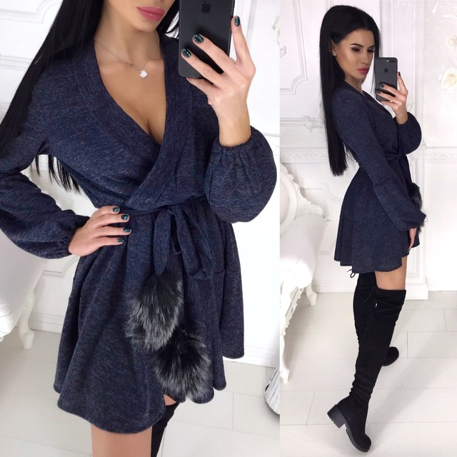 New Spring Winter Women Colors Cotton Sashes Hairball V-neck Fit and Flare Casue Warm Long Sleeve Dress Sexy elegant Vestidos 3