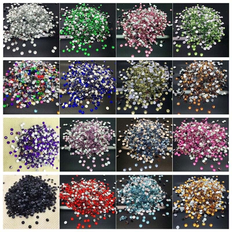 800pcs 4mm 14 Facets Crafts Resin Rhinestone Gems Flat Back Crystal Beads Black