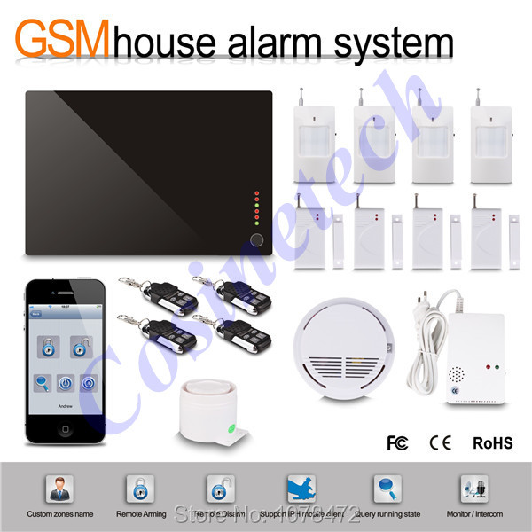 IOS&Android APP controlled home secure GSM alarm system,GSM 850/900/1800/1900Mhz with gas sensor,smoke detector fire alarm