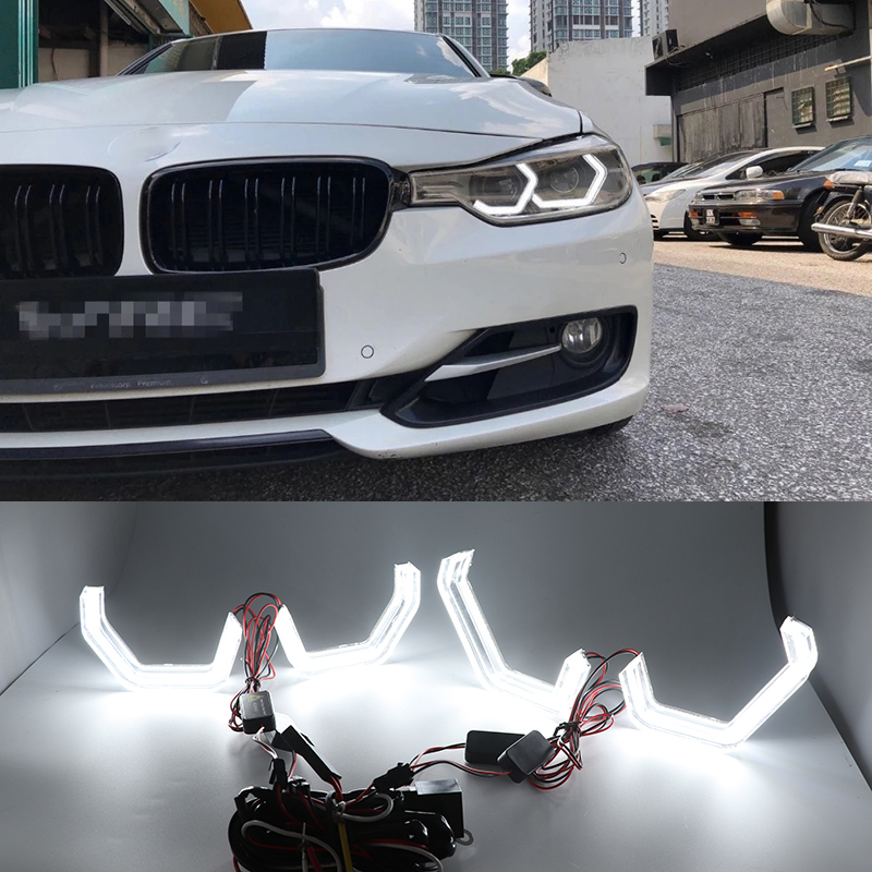 White Crystal Angel Eyes Kits ICONIC M4 Style day light DRL for BMW 3 series F30