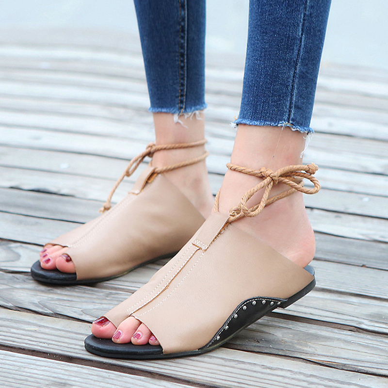 2018 Fashion Summer Women Shoes Sexy Women Sandals Lce-Up Ladies Beach Shoes Flat Heels Fish Mouth Sandals in the summer of 2016 the new wedge heels with fish in square mouth denim fashion sexy female cool shoes nightclubs