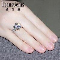 Transgems 14 к белое золото 5 карат диаметр 11 мм F цвет Муассанит обручение кольцо для женщин Solitare с акцентами