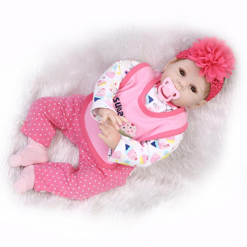 22 inch 55cm  baby reborn Silicone dolls, lifelike doll reborn babies for  Children's toys Pretty peach red set universal led sport bluetooth wireless headset stereo earphone ear hook headset for mobile phone with charger cable