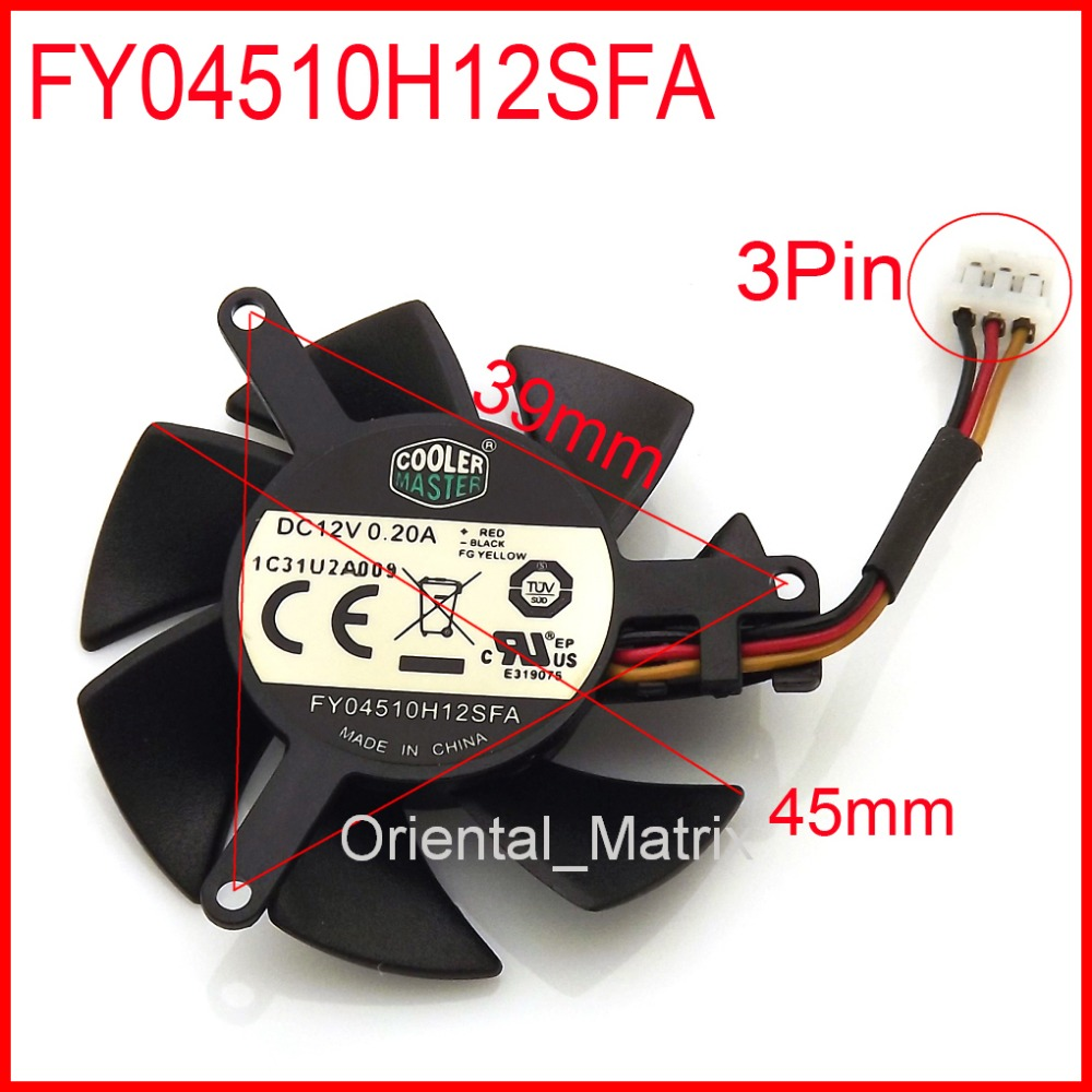 FY04510H12SFA 12V 0.2A 45mm 3Wire 3Pin For MSI R6450 6570 6670 V5 Graphics / Video Card Cooler Cooling Fan inkjet printer infinity challenger fy 3206 fy 3208 fy 3278 phaeton io board for seiko 510 usb io card