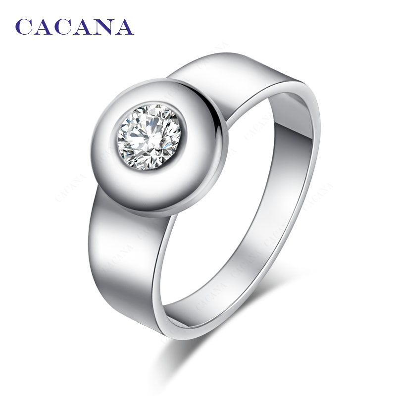 CACANA Stainless Steel Rings For Women CZ Jewelry