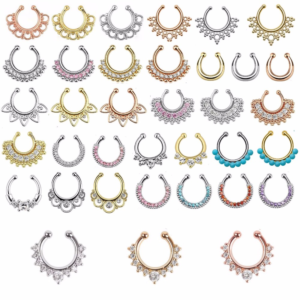 Christmas punk taboo gold none piercing fake septum nose ring clip silver indian fake crystal nose stud Free shipping N0009