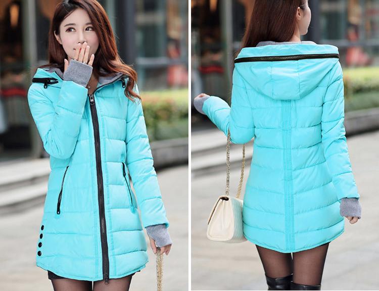 Chu · 女性の冬フード付き暖かいコートスリムプラスサイズキャンディーカラー綿パッド入り基本ジャケット女性の中 Mark 24