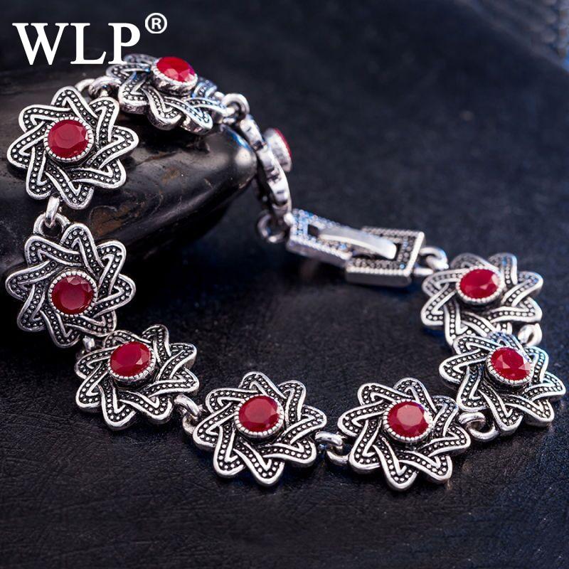 2018 WLP à la mode Vintage coloré opale pierre Bracelet pour les femmes bouton pression mode en forme de fleur breloques Bracelets rétro Boho