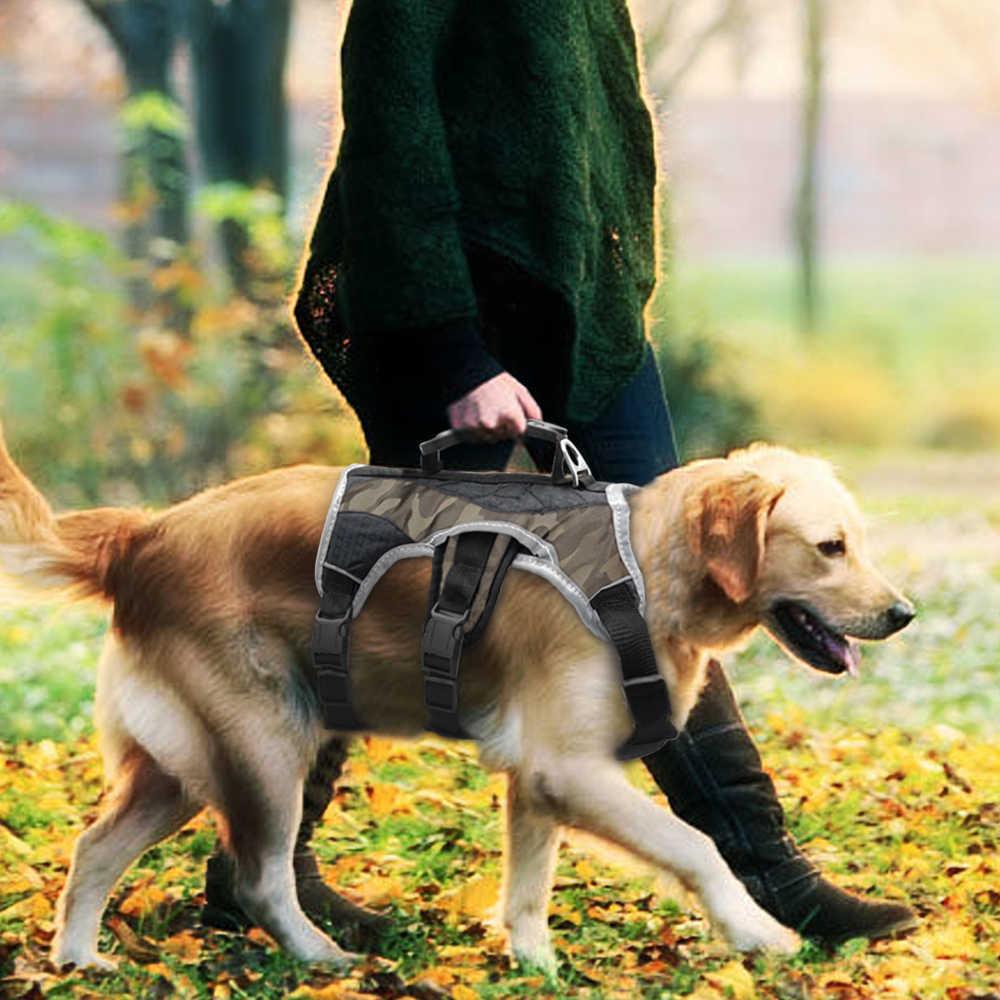 Reflektif Anjing Memanfaatkan Anjing Besar K9 Halter Memanfaatkan Peliharaan Jaring Rompi dengan Lift Cepat Pengendali Pegangan untuk Labrador Husky Berjalan