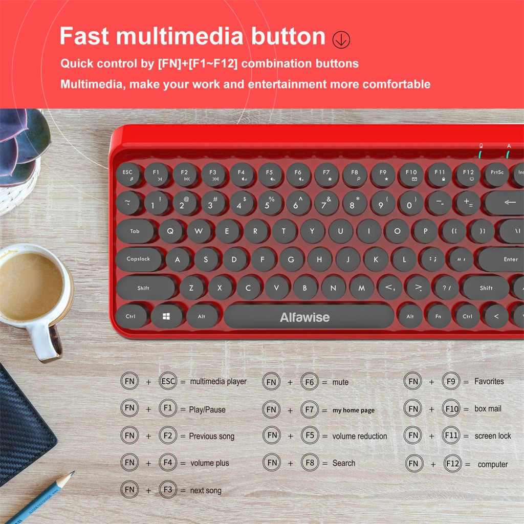 K800 2.4G اللاسلكية لوحة المفاتيح فائقة الهدوء ماوس pc ألعاب ريترو غرار Keycap نمط 84 مفتاح لوحة المفاتيح اللاسلكية + ماوس ل مكتب ألعاب