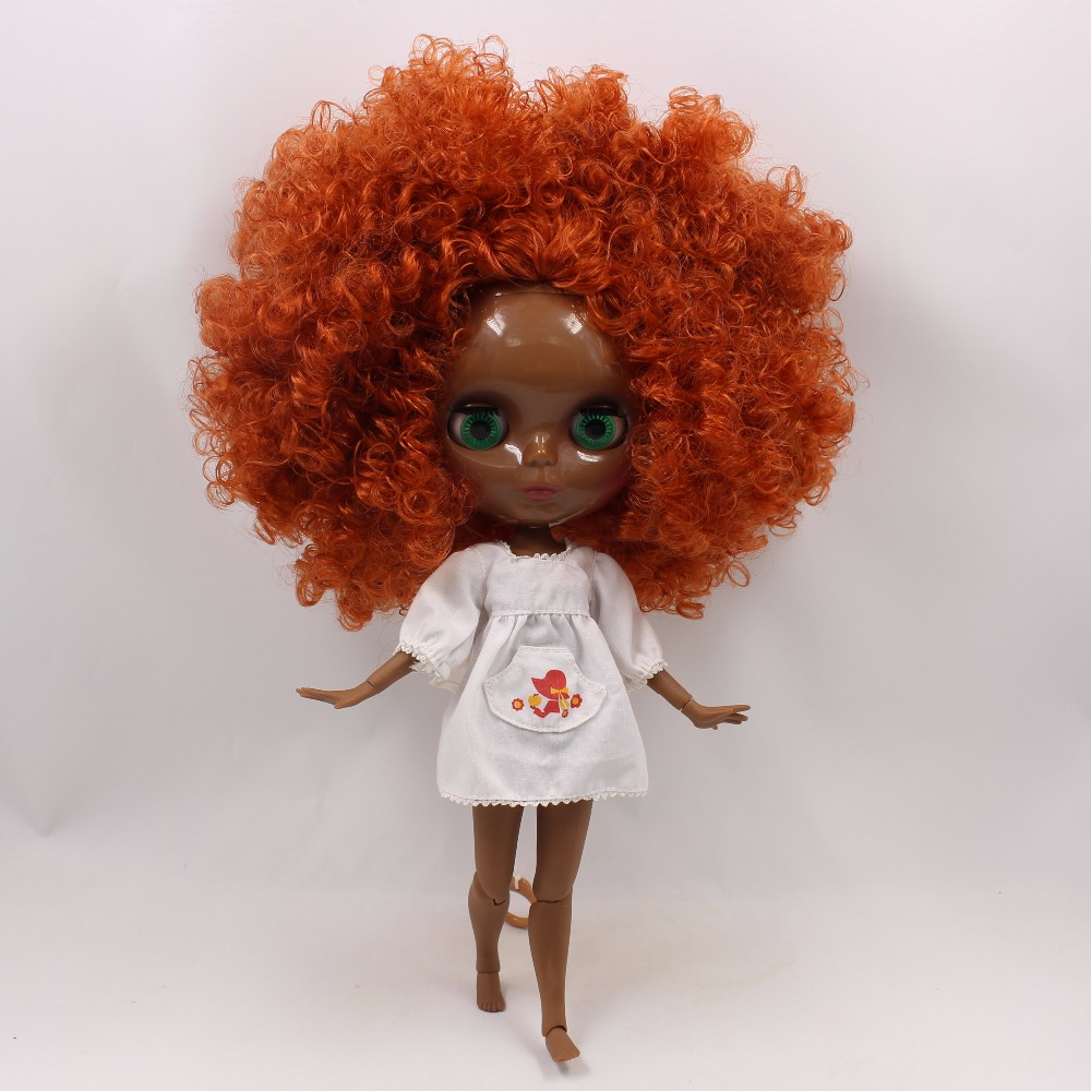 Neo Blythe Doll with Ginger Hair, Black skin, Shiny Face & Jointed Body 1