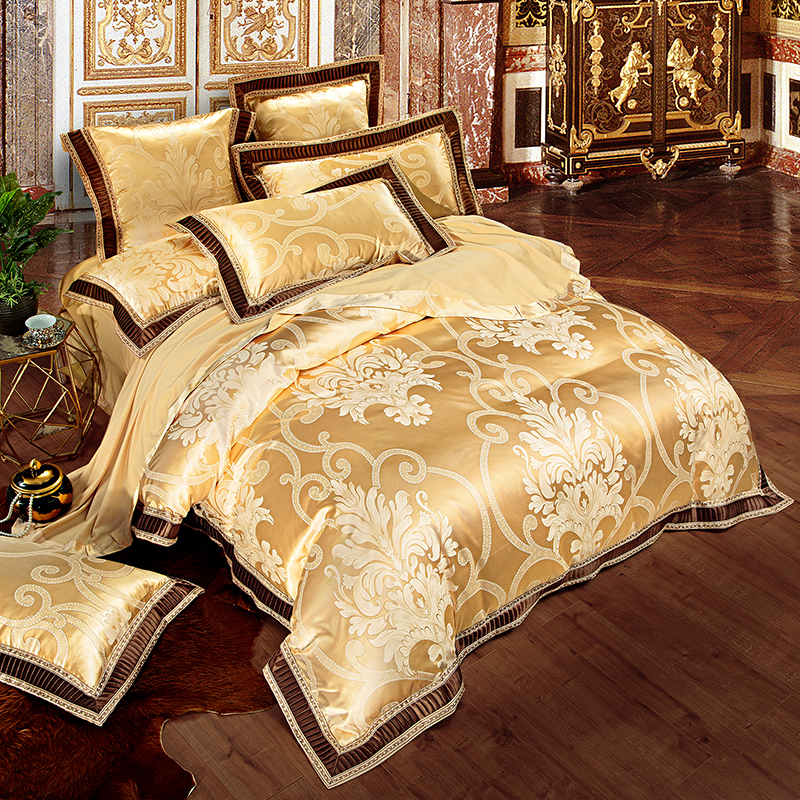 Buy Bed Set: Aliexpress.com : Buy Gold White Blue Embroidered Jacquard