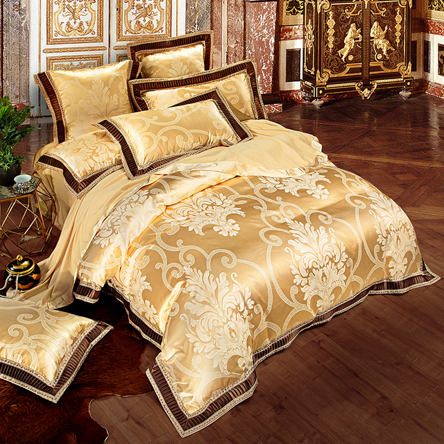 Gold White Blue Embroidered Jacquard Satin Bedclothes Bed set 4/6pcs Royal Bedding set Luxury Duvet Cover Bed Sheet Pillowcases
