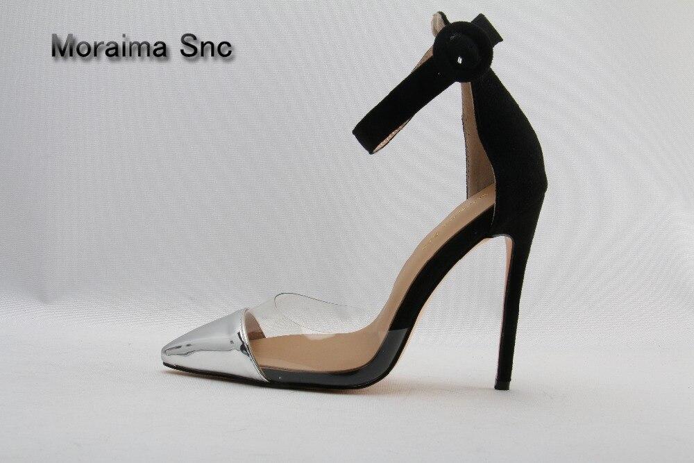Moraima Snc brand design women sandals women sliver Patent leather pointed toe pumps black suede buckle high heels sandals shoes