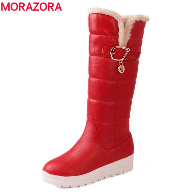 EUR TAMAÑO 4-43 nuevas botas de nieve caliente zapatos de plataforma de las mujeres botas altas hasta la rodilla de piel dentro de botas de invierno
