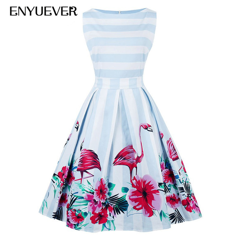enyuever vintage kleid plus größe floral flamingo drucken striped tank  retro 50 s swing elegante rockabilly kleid vestidos casual 4xl