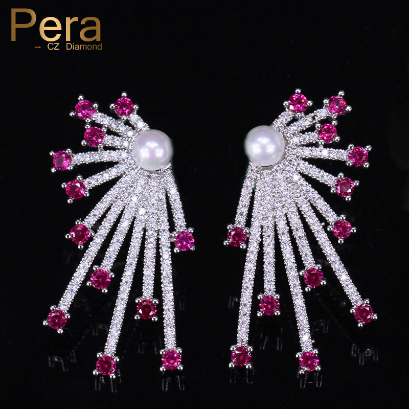 Pera Elegant Women Daily Prom Party Silver Color Jewelry Red Stone with Simulated Pearl Stud Earrings for Best Friend Gift E361