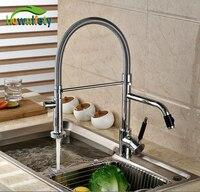 Хром полированный Кухня раковина смеситель двойные Изливы двойной ручкой одно отверстие Кухня кран Палуба Гора