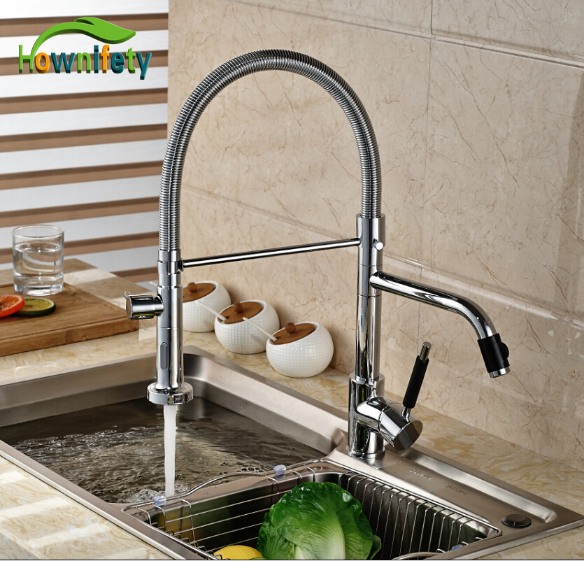 Chrome Polished Kitchen Sink Mixer Tap Dual Spouts Dual Handle One Hole Kitchen Faucet Deck Mount luxury solid brass kitchen faucet dual spouts vessel sink mixer tap w 8 plate