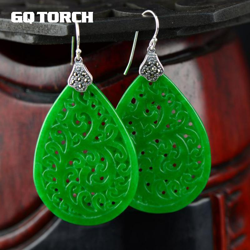 Natural Green Jade Earrings For Women Real 925 Sterling Silver Jewelry Hollow Flowers Design Water Drop Shaped цена 2017