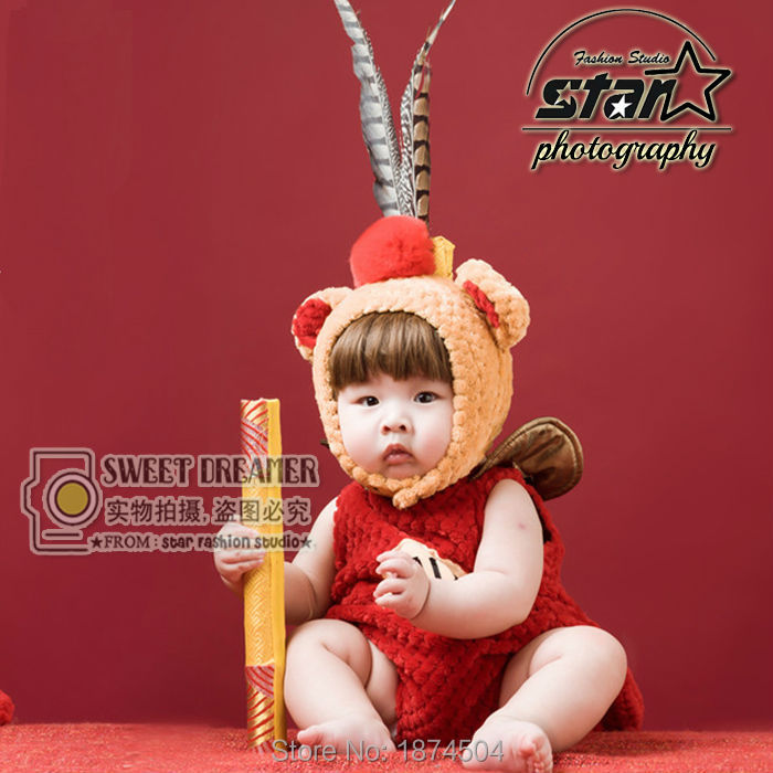 Carton Baby Photography Costume Newborn Baby Monkey King Outfit Infant Boys Girls Clothes Fox Dolly Sheep Costume 1set newborn baby photography props infant knit crochet costume peacock photo prop costume headband hat clothes set baby shower gift