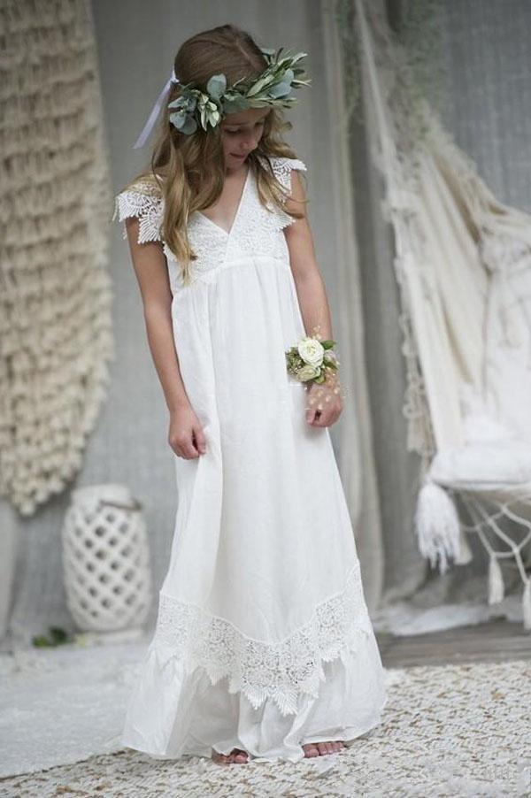 Beach Boho 2019   Flower     Girl     Dresses   For Weddings A-line V-neck Chiffon Lace Long First Communion   Dresses   For Little   Girls