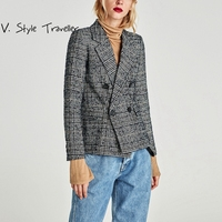 High Quality Normcore Office Lady Checked Blazer Suit Coat Notched Collar Outerwear Winter Black White Double