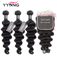 Yyong 3/4 Loose Deep Wave Bundles With Closure 2019 Fashion Peruvian 5x5 Closure With Bundles Remy Human Hair With Lace Closure