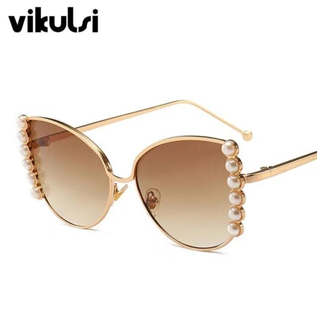 Brand Design Pearl Decoration Women Cat Eye Sunglasses Fashion Square Purple Pink Gradient Sun Glasses Female Shades UV400 2019