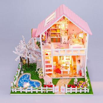 13835 DIY wooden doll dream house miniatures Villa dollhouse Wooden Building Model Furniture Model For child Toys